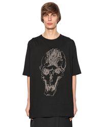 Yohji Yamamoto - Black Printed Skull Cotton Jersey T-shirt for Men - Lyst