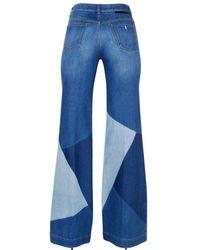 Stella McCartney - Blue Wide Leg Faded Cotton Denim Jeans - Lyst
