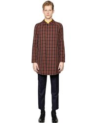 Mp Massimo Piombo - Brown Waterproof Checked Cotton Car Coat for Men - Lyst