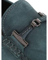 Tod's - Green Gommino Nubuck Driving Shoes for Men - Lyst