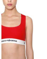 Paco Rabanne - Red Logo Band Cotton Jersey Sports Bra - Lyst