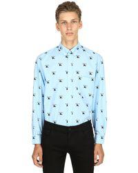 Burberry - Blue Hemd Aus Baumwollpopeline Mit Logodruck for Men - Lyst