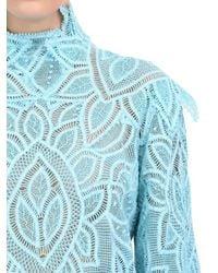 Martha Medeiros - Blue Long-Sleeved Lace Shift Dress - Lyst