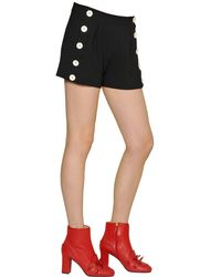 Boutique Moschino | Black Techno Crepe Shorts With Buttons | Lyst