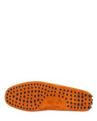 Tod's - Orange Gommino 122 Suede Driving Shoes for Men - Lyst