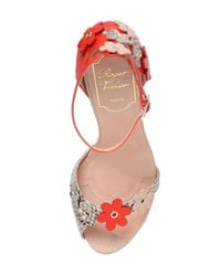 Roger Vivier - Red 100mm Sin Flowers Python Sandals - Lyst