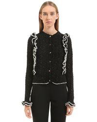 Philosophy Di Lorenzo Serafini - Black Ruffled Tweed Yarn Cable Knit Cardigan - Lyst