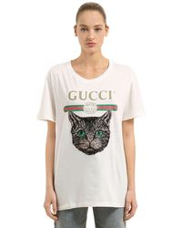 9f6eec8d216c Gucci Logo T-shirt With Mystic Cat in White - Lyst