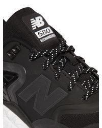 New Balance - Black 580 Reenginered Faux Leather Sneakers for Men - Lyst
