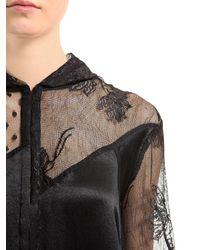 McQ Alexander McQueen - Black Hooded Patchwork Lace & Tulle Coat - Lyst
