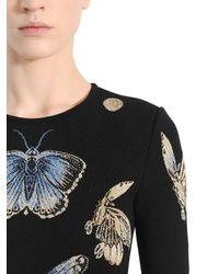 Alexander McQueen - Black Butterfly Wool Blend Jacquard Knit Dress - Lyst