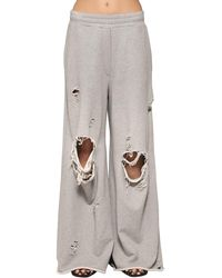 Alexander Wang - Gray Destroyed Wide Leg Cotton Sweatpants - Lyst