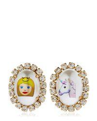 Bijoux De Famille | Metallic Emoji Princess & Unicorn Earrings | Lyst