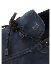 Tod's - Blue City Gommino Delavè Nubuck Loafers for Men - Lyst