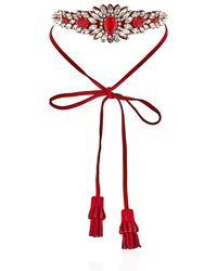 Shourouk | Red Alcantara Flower Necklace | Lyst