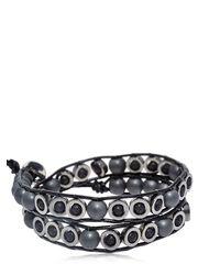 Colana - Black Lava & Hematite Beads Wrap Bracelet for Men - Lyst