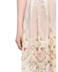 Fabiana Milazzo - Natural Embellished Strapless Lace Dress - Lyst