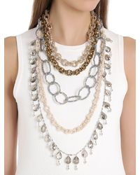 Night Market - Metallic Dropped Multi Chain Beaded Necklace - Lyst