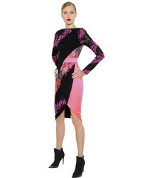 Antonio Berardi - Black Floral Flocked Lace & Scuba Dress - Lyst