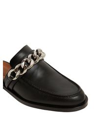 Givenchy - Black 20mm Chained Leather Mules - Lyst