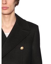Balmain - Black Double Breasted Wool Cloth Coat for Men - Lyst