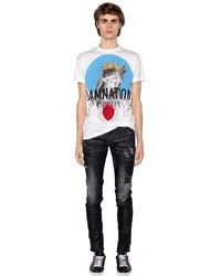 DSquared² - White Printed Cotton Jersey T-shirt for Men - Lyst