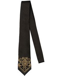 Versace - Black 7cm Medusa & Polka Dot Silk Jacquard Tie for Men - Lyst