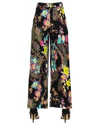 Etro - Black Floral Printed Stretch Cady Pants - Lyst