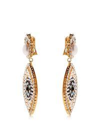 Shourouk - Metallic Eye Crystal & Pearl Earrings - Lyst