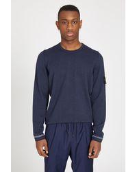 Stone Island - Blue 569b9 Light Raw Cotton Knit Sweater for Men - Lyst