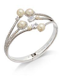 Kate Spade - Metallic Silver-tone Imitation Pearl & Pavé Hinged Bangle Bracelet - Lyst