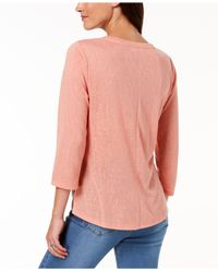 Style & Co. - Pink Knot-hem Top, Created For Macy's - Lyst