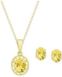 Macy's | Metallic Citrine Oval Pendant Necklace And Matching Stud Earrings Set (2-1/10 Ct. T.w.) In 18k Gold-plated Sterling Silver | Lyst