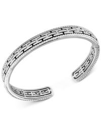 Effy Collection - Metallic Men's Chain-look Textured Cuff Bracelet In Sterling Silver - Lyst