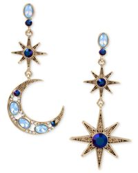 Betsey Johnson | Blue Gold-tone Moon & Stars Stone Mismatch Earrings | Lyst