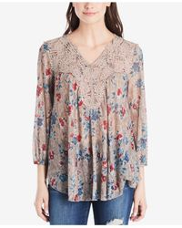 Vintage America | Multicolor Printed Lace-trimmed Top | Lyst