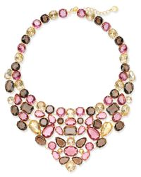 Charter Club - Metallic Gold-tone Multi-stone Statement Necklace - Lyst