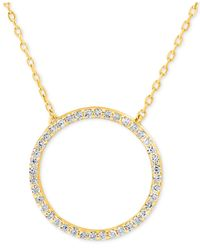 Giani Bernini - Metallic Cubic Zirconia Circle Pendant Necklace In Gold-plated Sterling Silver - Lyst