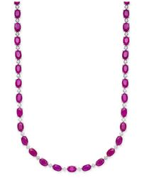 Macy's - Red Certified Ruby (20 Ct. T.w.) & White Sapphire (1/2 Ct. T.w.) Collar Necklace In Sterling Silver - Lyst