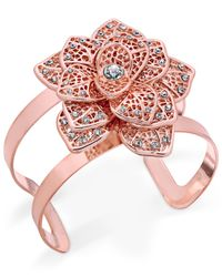 INC International Concepts - Multicolor Rose Gold-tone Crystal Flower Cuff Bracelet - Lyst