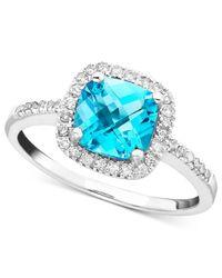 Macy's - Blue Topaz (1-3/8 Ct. T.w.) & Diamond (1/5 Ct. T.w.) Ring In 10k White Gold - Lyst