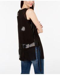Eileen Fisher - Black Silk Printed Top - Lyst