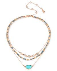 Kenneth Cole - Metallic Gold-tone Multi-stone & Bead Triple-row Choker Necklace - Lyst