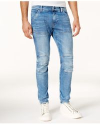 G-Star RAW - Blue Men's Extra Slim-fit Light Aged Ripped Jeans for Men - Lyst