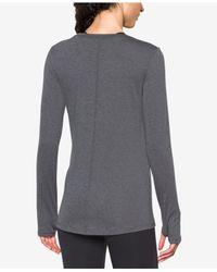 Under Armour - Gray Long-sleeve Heatgear Top - Lyst
