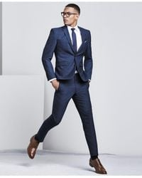 Vince Camuto - Men's Slim-fit Blue Sharkskin Suit for Men - Lyst
