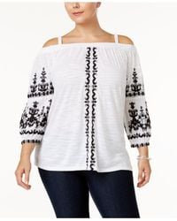 INC International Concepts - White Plus Size Embroidered Off-the-shoulder Top - Lyst