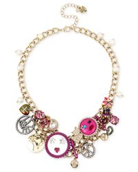 Betsey Johnson - Pink Multi-tone Multicolor Crystal & Imitation Pearl Large Charm Statement Necklace - Lyst
