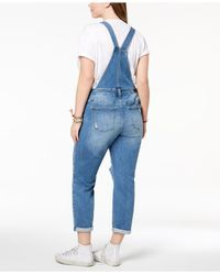 Celebrity Pink Blue Plus Size Distressed Denim Overalls