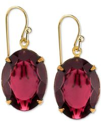 2028 - Metallic Gold-tone Burgundy Crystal Drop Earrings - Lyst